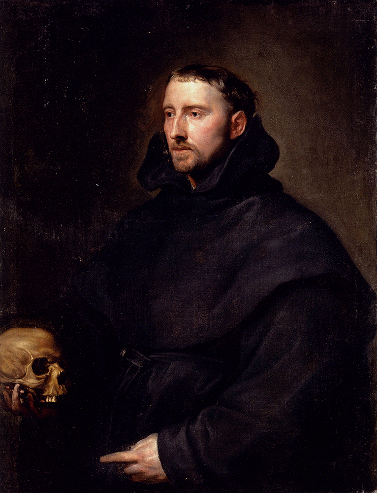 Portrait Of A Monk Of The Benedictine Order Holding A Skull, Sir Antony van Dyck, 17th Century