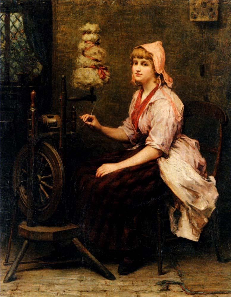 Katherine D M Bywater, The Girl at the Spinning Wheel, 1885