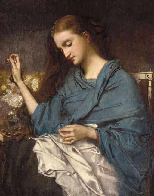 Thomas Couture, Jeune Femme Cousant, circa 1870