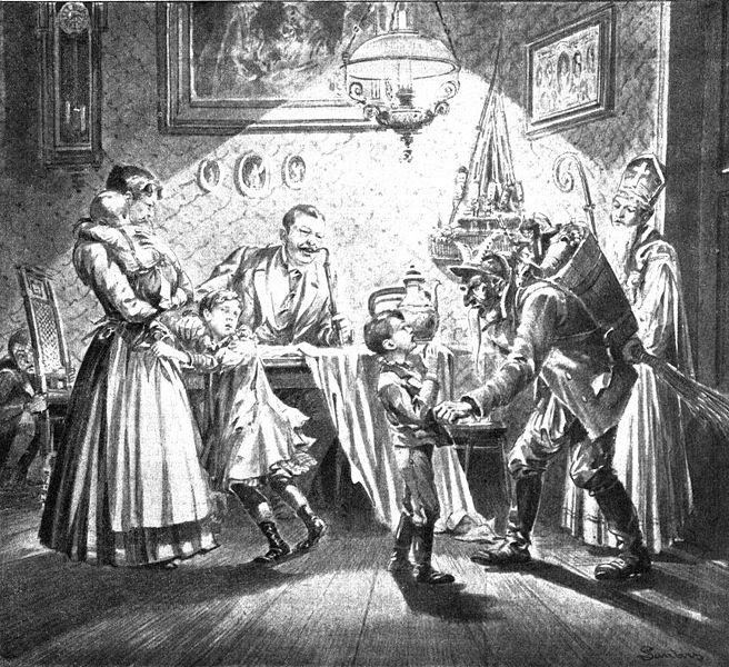Besuch von Nikolaus und Krampus in der Stube, Zeitungsillustration aus dem Jahr 1896, Wikimedia Commons