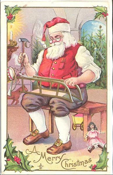 Santa Claus Workshop, 1911 Postcard, Wikimedia Commons