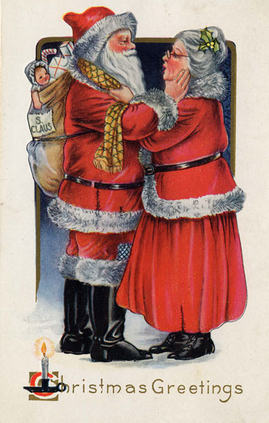 Santa and Mrs Claus, 1919 Postcard, Wikimedia Commons