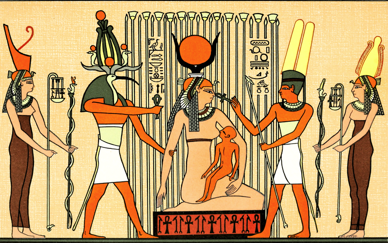 Isis in papyrus swamp suckling Horus, from the Book The Gods of the Egyptians by E.A. Wallis Badge 1904