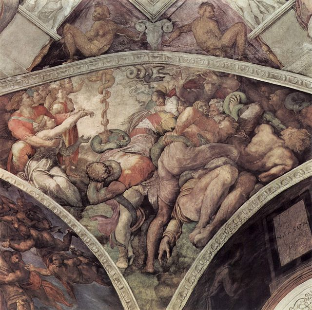 In 1508 Michelangelo's image of the Israelites deliverance from the plague of serpents by the creation of the bronze serpent on the ceiling of the Sistine Chapel. Wikimedia Commons.