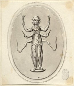 Glass paste intaglio engraved with Hecate trimorph, holding two torches, two daggers and two whips 1768-1805 British Museum