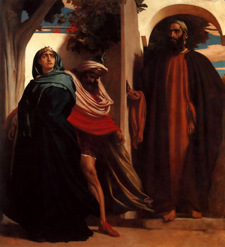 Frederic Leighton Jezebel and Ahab Met by Elijah 1862