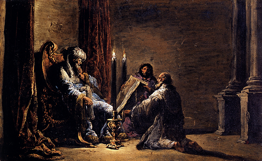 Leornaert Bramer The Scribe Shaphan Reading the Book of Law to King Josiah 1622